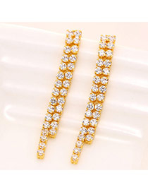 Sweet Gold Color Diamond Decorated Double Layer Long Tassel Simple Earrings