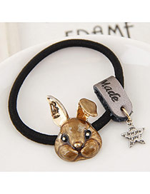 Fashion Gray Metal Rabbit&star Pendant Decorated Simple Hair Band