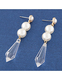Sweet White Pearls&irregular Shape Pendant Decorated Asymmetric Simple Earrings