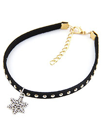 Personality Black Snowflake Shape Pendant Decorated Rivat Woman Anklet