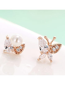 Lovely Rose Gold Butterfly + Pearl Decorated Asymmetric Earrings