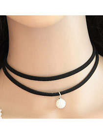 Personality Black Round Shape Pendant Double Layer Necklace