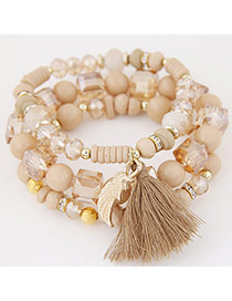 Bohemia Beige Sea Wave Shape&tassel Pendant Decorated Multilayer Bracelet