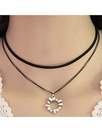 Temperament Black Round Shape Pendant Decorated Double Layer Necklace
