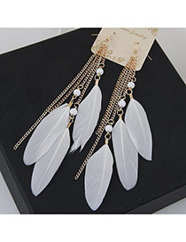 Bohemia White Metal Chain&feather Tassel Pendant Decorated Simpe Earring