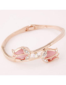 Sweet Rose Gold Double Tulip Shape Decorated Simple Bracelet