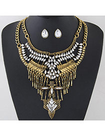 Exaggerated Bronze Hollow Out Geometric Shape Decorated Double Layer Necklace
