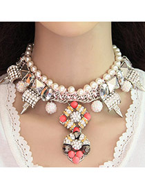 Fashion Watermelon Red+gray Gemstone&pearls Decorated Geometric Shape Double Layer Necklace