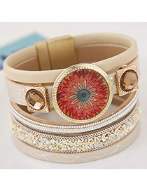 Trendy Beige Round Shape Gemstone Decorated Multi-layer Magnetic Snap Bracelet