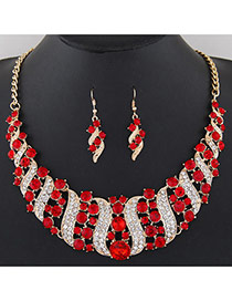 Fashion Red+white Round Shape Diamond Decorated S Shape Simple Jewelry Sets