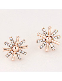 Sweet Rose Gold Diamond Decorated Sunflower Shape Earrings