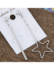 Sweet Silver Color Star&vertical Shape Pendant Decorated Asymmetry Earrings