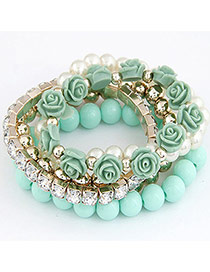 Trendy Green Gemstone&flower&pearl Decorated Multi-layer Simple Bracelet