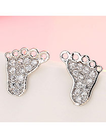 Sweet Silver Color Diamond Decorated Small Foot Shape Simple Earrings