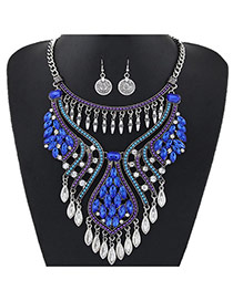 Luxury Blue Diamonde Decorated Tassel Chort Chain Jewelry Sets