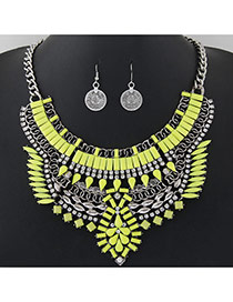 Fashion Yellow Geometric Shape Gemstone Decorated Hollow Out Jewelry Sets