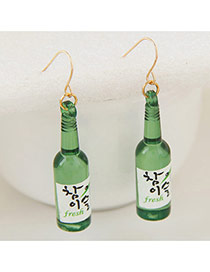 Cute Green Beer Bottle Shape Pendant Decorated Simple Earring