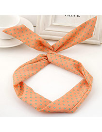 Sweet Orange Polka Dot Decorated Rabbit Ears Hair Hoop& Hair Band