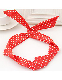 Sweet Watermelon Red Polka Dot Decorated Rabbit Ears Hair Hoop& Hair Band