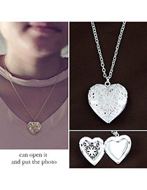 Fashion Silver Color Hollow Out Heart Pendant Decorated Simple Necklace(can Open The Heart)