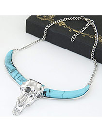 Fashion Blue Gemstone Decorated Ox-head Shape Design Necklace