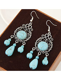 Vintage Blue Water Drop Shape Gemstone Pendant Decorated Hollow Out Earrings