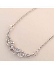 Sweet Silver Color Diamond Decorated Wings Shape Simple Necklace
