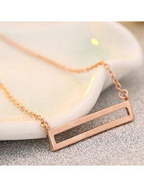 Sweet Rose Gold Hollow Out Square Shape Pendant Decorated Pure Color Necklace