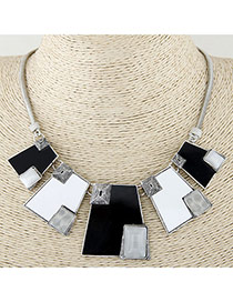 Fashion Black+white Color Matching Design Geometric Shape Necklace