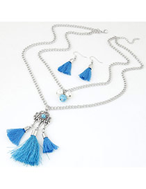 Bohemia Blue Short Tassel Decorated Double Layer Necklace
