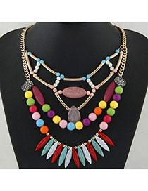 Bohemia Multi-color Geometric Shape Pendant Decorrated Multilayer Necklace