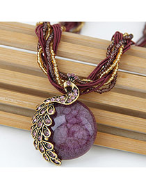 Exaggerate Dark Purple Peacock Decorated Round Pendant Simple Necklace