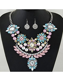 Fashion Multi-color Flower Shape Decorated Hollow Out Jewelry Sets