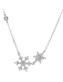 Elegant Silver Color Metal Snowflake Pendant Decorated Long Chain Necklace