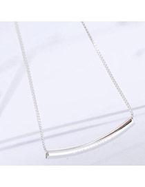Fashion Silver Color Strip Pendant Decorated Long Chain Necklace