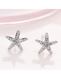 Fashion Silver Color Diamond Decorated Starfish Shape Design Simple Earrings
