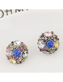 Luxury Multi-color Diamond Decorated Round Shape Design Earrings