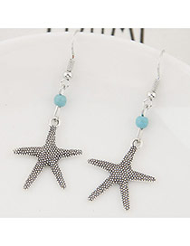 Fashion Silver Color+blue Bead& Starfish Shape Pendant Decorated Simple Earring