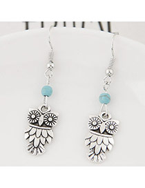 Personality Silver Color+blue Bead& Owl Shape Pendant Decorated Simple Earring