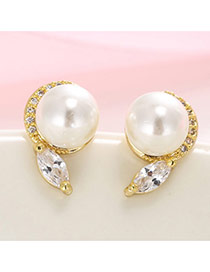 Luxury White+gold Pearl& Diamond Pendant Decorated Simple Design Earrings