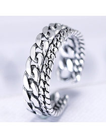 Personality Silver Color Asymetric Chain Shape Decorated Simple Opening Ring