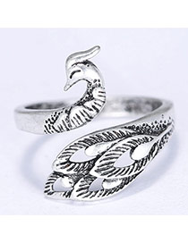 Lovely Silver Color Hollow Out Peacock Shape Decorated Simple Ring