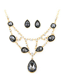 Elegant Black Waterdrop Shape Pendant Decorated Simple Design Jewelry Sets