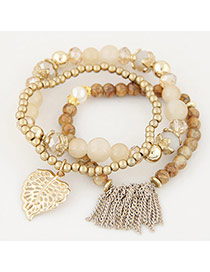 Trendy Multi-color Tassel& Leaf Shape Decorated Multilayer Simple Design Bracelet
