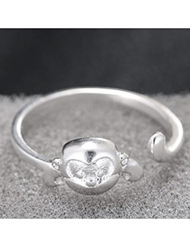 Fashion Silver Monkey Shape Decorated Simple Design Opening Ring