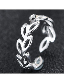 Trendy Silver Hollow Out Leaf Shape Decorated Simple Design Ring