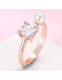 Trendy Rose Gold Diamond& Bead Decorated Simple Design Pure Color Opening Ring