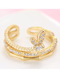 Trendy Gold Color Diamond& Bowtie Shape Decorated Multilayer Pure Color Ring