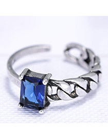 Trendy Anti-silver+sapphire Blue Geometric Shape Diamond Decorated Simple Hollw Out Ring