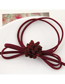 Trendy Claret-red Chrysanthemum Flower Decorated Multilayer Design Pure Color Hairband